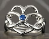 Heart infinity knot blue sapphire Puzzle ring in sterling silver