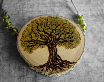 Tree Peridot Bead Hemp Rustic Holly Twig Wooden Necklace by Tanja Sova