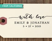 With Love CUSTOM STAMP with proof from USA, Eco Friendly Self-Inking stamp, Favor Tags, diy wedding, Wedding Favors, With Love Stamp 80