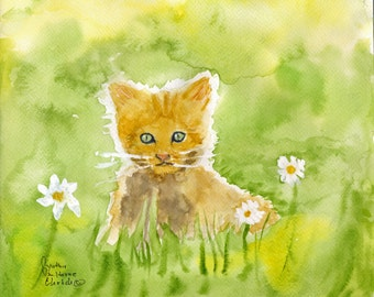 Kitten Daisies Meadow Fine Art Print Original Watercolor Floral FRAMEABLE ART Giclee Nusery Expectant Mom Birth Baby Child Gift Collectable