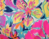 "lilly pulitzer's multi besame mucho poplin cotton fabric square 18""x18"""