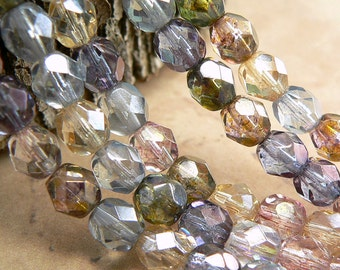 Transparent Luster Mix Czech Glass Fire Polished Round Beads Picasso 6mm (25)