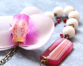 Statement Boho Necklace with Big Orchid Flower, Agate and Jade Semiprecious Gemstone - Adjustable