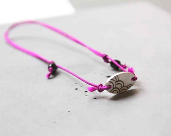 Sterling Silver Friendship Adjustable Bracelet with Japanese Wave Pattern and Magenta Silk Cord
