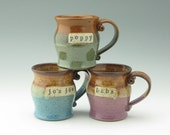 Personalized Pottery Mug – Old School ID Ceramic Hand Thrown Rustic Name Custom Coffee Mug or Tea Cup Pot Belly Style in Various Colors