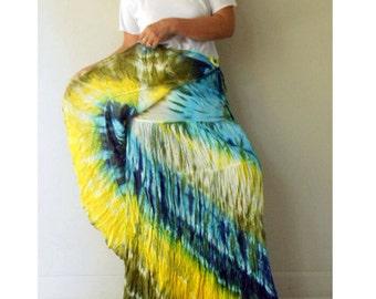 Hippie Boho Summer Chic Long Tie Dye  Cotton Ruffle Wrap skirt S-L (TD 47)