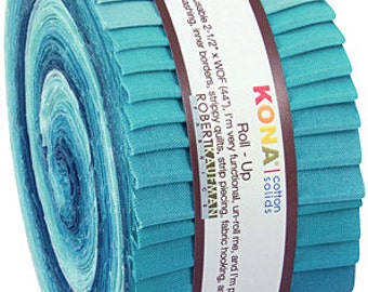 "Robert Kaufman Kona Cotton Solids POOL PARTY Roll Up 2.5"" Precut Fabric Quilting Cotton Strips Jelly RU-439-40"