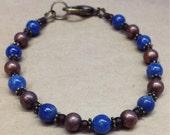 Handcrafted Copper And Denim Lapis Lazuli Gemstone Bracelet - Earthy - Free U S A Shipping