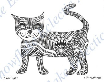 DIY COLORING Page -  Instant PDF Digital Download - Printable Coloring Page - Mexicat - Adults - Children