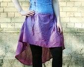 Violet hippy skirt, blue skirt, purple skirt, high waist corset skirt, tie dye skirt, hippy skirt boho festival skirt rave skirt MASQ