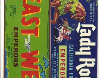 5 Old Vegetable / FRUIT Crate Labels