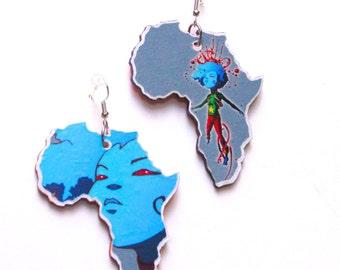 Africa Earrings Sci Fi Jewelry Winfred Hawkins Print Blue African American Art Triburban Afrocentric Jewelry Pop Art.