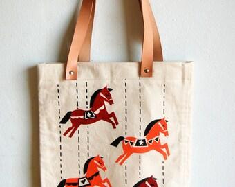 Carrousel Silkscreen-printed tote bag