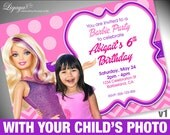 Barbie Birthday Party Invitation with your child's photo - DIGITAL FILE