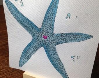 Love Starfish original Watercolor painting