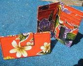Oil Cloth Orange Floral Billfold Wallet, Women's Floral Vinyl Checkbook Clutch Wallet