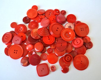 75 Red shades buttons antique and vintage plastic buttons in 75 designs, high quality buttons