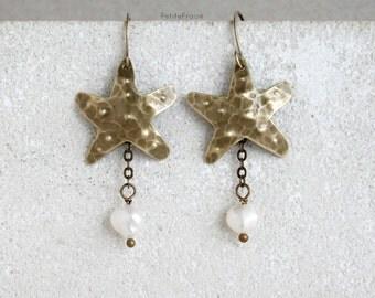 Brass starfish earrings, freshwater pearls, white and gold, seaside beach earrings, boho summer earrings