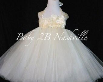 Wedding Dress Flower Girl Dress Ivory Dress Tulle Dress Baby Dress Ivory Baby Dress Toddler Tutu Dress Toddler Dress Girls Dress Tutu Dress