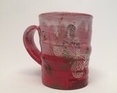 Red swamp mug with cattails and platinum butterfly