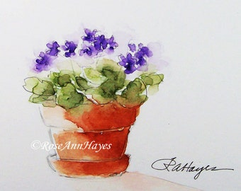 Purple African Violets Watercolor Painting Print ACEO