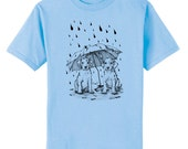Dalmatian Pups in Rain Dog Art T-Shirt Youth and Adult Sizes