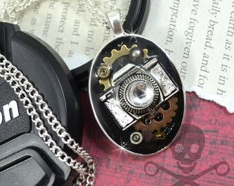 OH SNAP- Resin Steampunk CAMERA Decoden Pendant Necklace