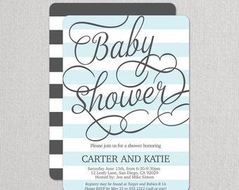 Boy Baby Shower Invitation - Baby Shower Invitations - Blue Baby Shower . Sip and See Invitation . Modern baby shower invitation