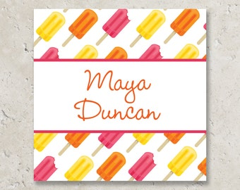 Girls Popsicle Stickers or Cardstock Gift Tags . Popsicle Birthday Party . for Favors, Treat Bags and Envelope Seals