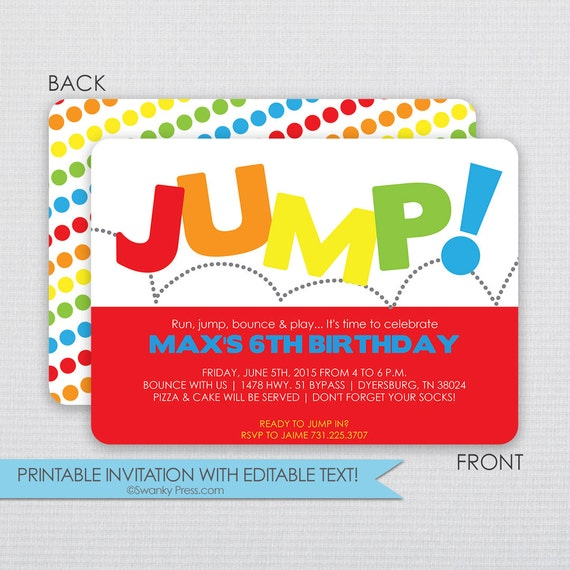 jump and bounce house birthday party invitation diy instant download editable file. Black Bedroom Furniture Sets. Home Design Ideas