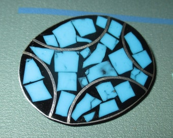 Vintage Modernist Turquoise and Sterling Oval Pin Signed CII Mexico 925