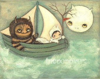 Where The Wild things Are Print Moishe Childrens Wall Art Nautical Dream Monster Max Carol Art