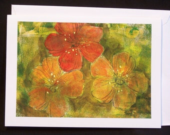 Note Card - Hand Printed Flowers on Green Background - Gelli Print - Blank Greeting Card - Notecard - Original Floral Note Card