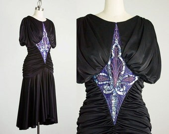 80s Vintage Abby Kent Black Sequin Grecian Draped Dress / Size Small