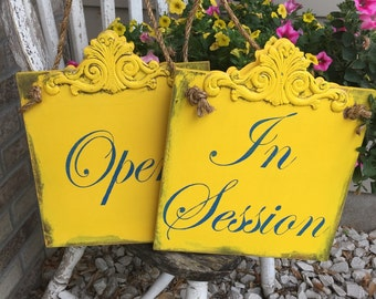 2 customizable rustic Business wood signs