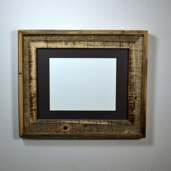 11x14 Reclaimed Wood Frame Wide Style With Black Mat By