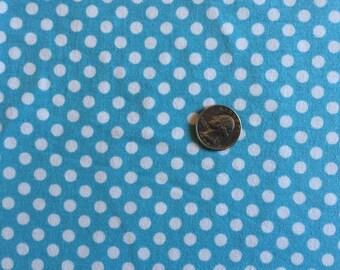 NEW Riley Blake white dots on aqua cotton Lycra  knit fabric 1 yard