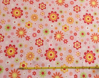 NEW Riley Blake Just Dreamy 2 floral on peach cotton Lycra  knit fabric 1 yd