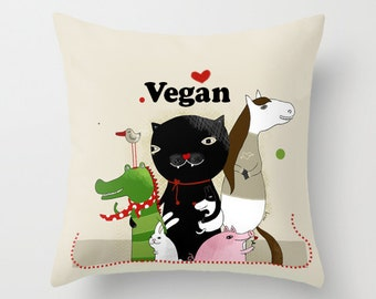 Vegan, Pillow Cover, Animal, Cute Animal Illustration, Vegan Home