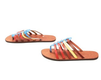 size 9.5 STRAPPY multicolor leather 80s 90s THONG slip on AFRICAN sandals