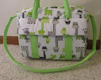 Giraffe diaper Bag w/change pad by EMIJANE Free embroidered name