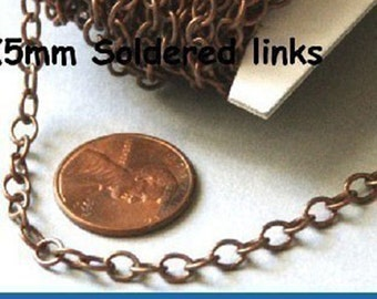 10ft of Antiqued copper round cable chain 4X5mm - Soldered Links
