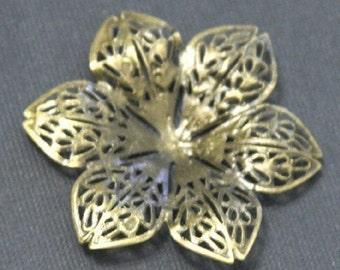 Sale --- 15 pcs of Antiqued Brass over steel filigree flower focal 43mm