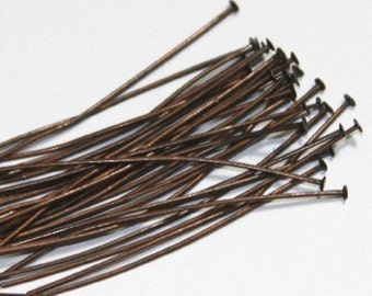 250 pcs ---- Antiqued Copper headpin 2inch long - 22 gauge