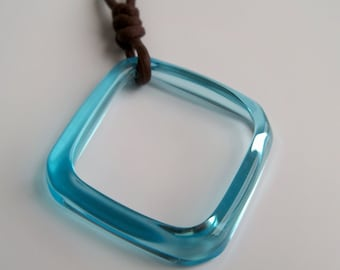 Teal Blue Recycled Square Bottle Ring Necklace