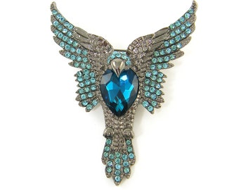 Bird Brooch Pin Antique Silver Phoenix Turquoise Blue Heart Crystal Adornment Silver Aqua Jewelry Craft Embellishment |LG2-4|1
