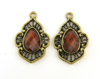 2 Pcs Brown Antique Gold Dangle Drop Charms Earring Finding Jewelry Supply |BR1-17|2