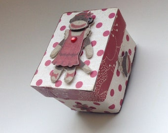 Tooth Fairy Box - SOCK MONKEY -  Trinket Box - Personalized Children's Storage, Unique Gift, Children's room decor