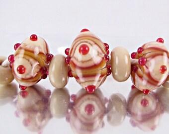 Love And Strawberries Lampwork Bead Set