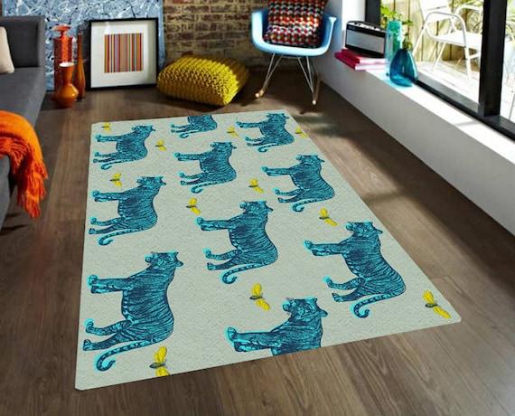 items similar to rug tigers rug modern rugs carpet vintage animals rug nursery decor men. Black Bedroom Furniture Sets. Home Design Ideas